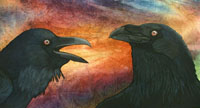 Rich gold, reds, and oranges of the sunset are the background for one raven bringing a message back to another.