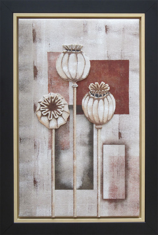 Defining survival or continuation, three dried poppy heads are applied to a dark brown background. Painted, stitched.